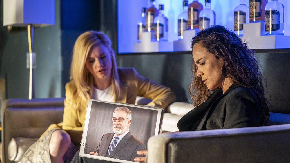"QUEEN OF THE SOUTH -- ""Me Llevo Manhattan"" Episode 502 -- Pictured: (l-r) Molly Burnett as Kelly Anne Van Awken, Alice Braga as Teresa Mendoza -- (Photo by: Skip Bolen/USA Network)"