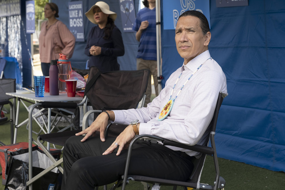 """RUTHERFORD FALLS -- """"Terry Thomas"""" Episode 104 -- Pictured: Michael Greyeyes as Terry Thomas -- (Photo by: Colleen Hayes/Peacock)"""